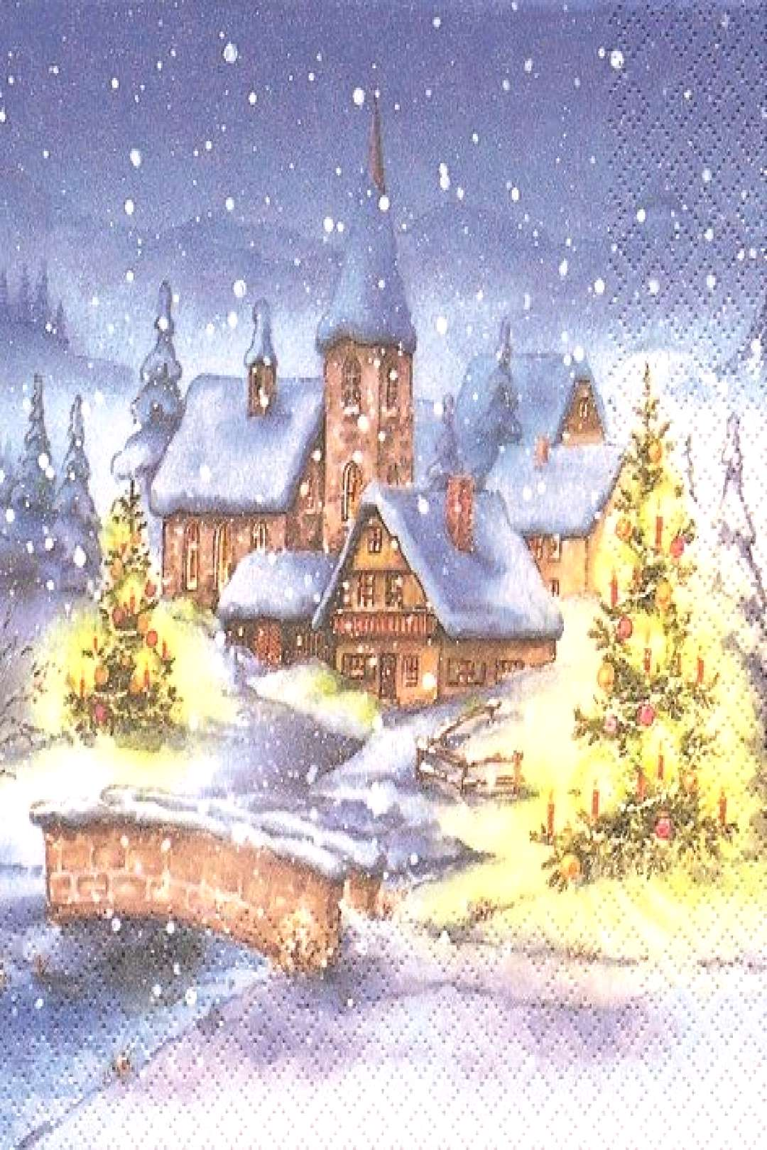 Evening Snowfall Christmas Village Decoupage Paper Napkin Best Picture For Decoupage Glass For Y